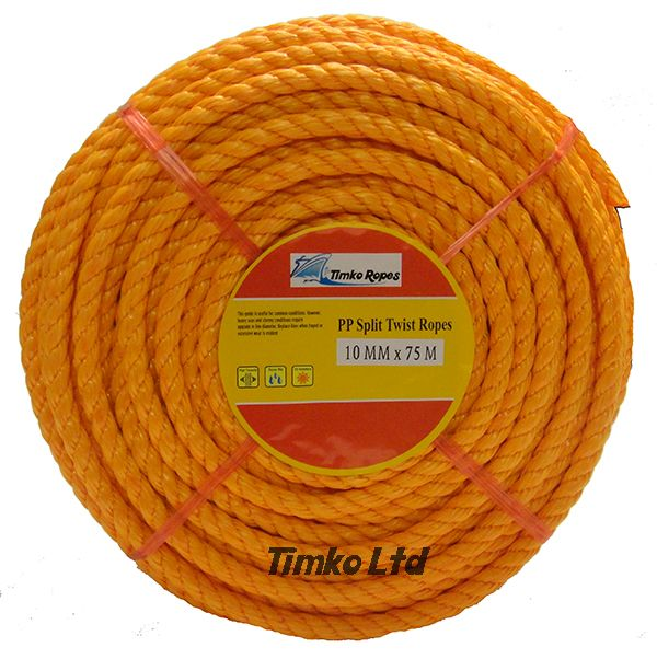 Polypropylene rope - 10mm Dia Orange x 75m Mini Coil