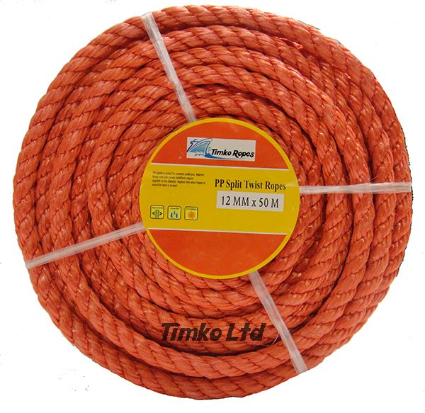 Polypropylene rope - 12mm Dia Red x 50m Mini Coil