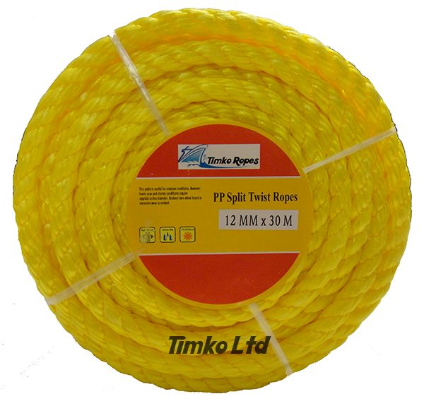 Polypropylene rope - 12mm Dia Yellow x 30m Mini Coil