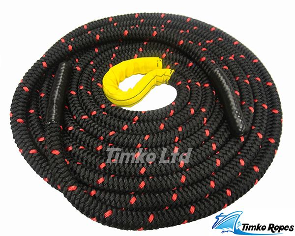 35mm Black Double Braided Polyester Battling Battle Rope