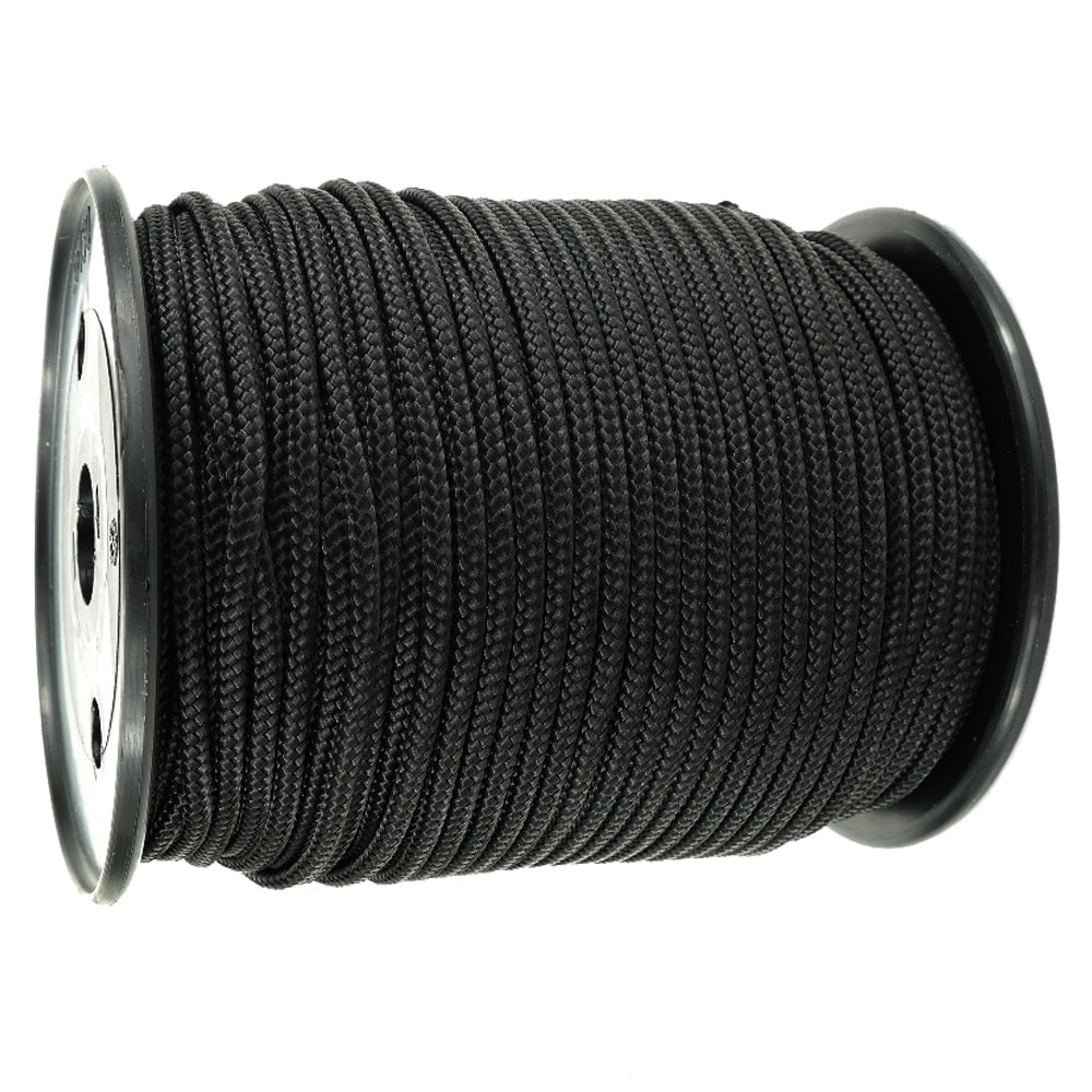 1.5mm x 200m Black 8-Plait Polyester Cord