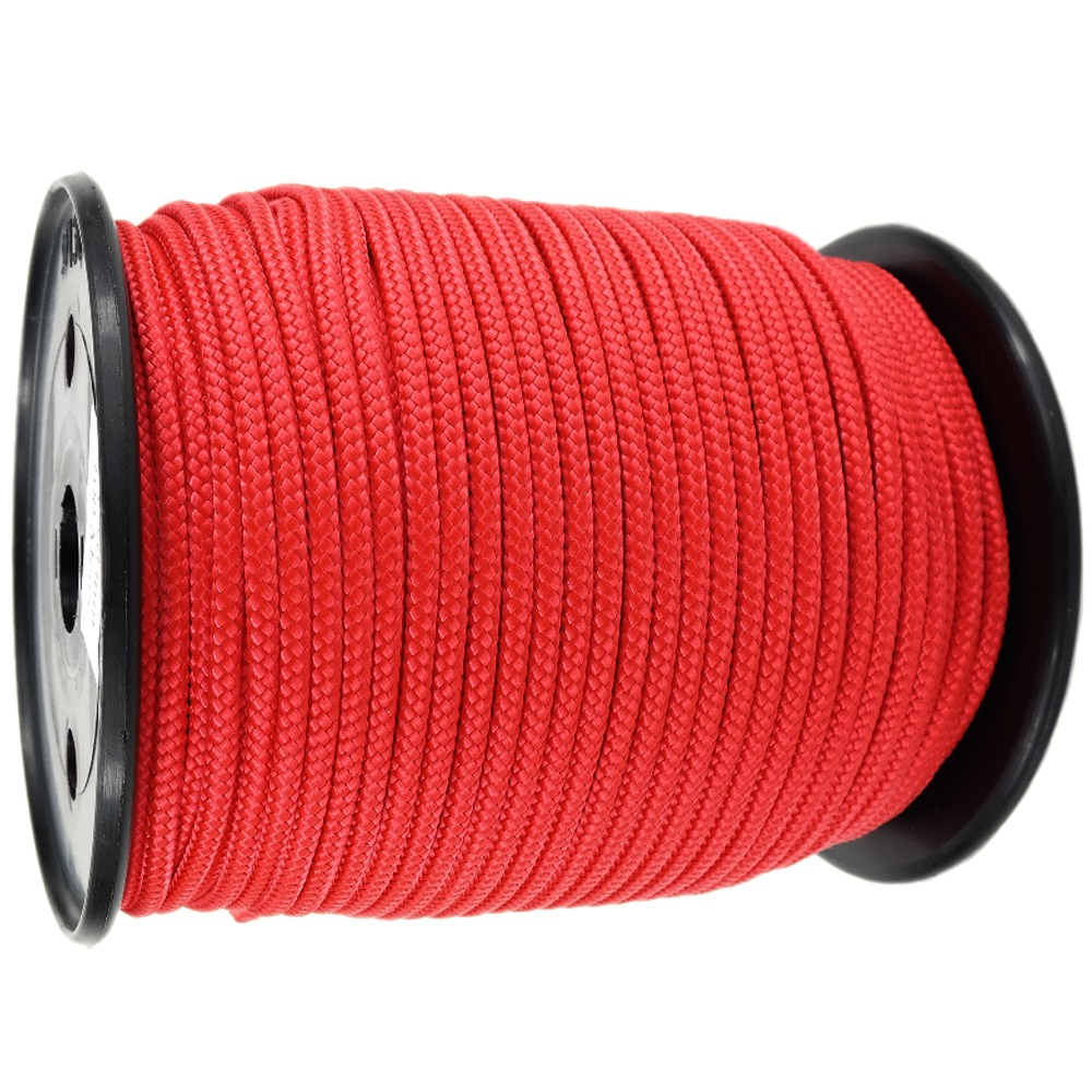 4mm Red Braided Polypropylene Rope x 200m
