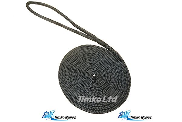Black Pre-Spliced Polyester Braided Dockline - 12mm (12mtr)