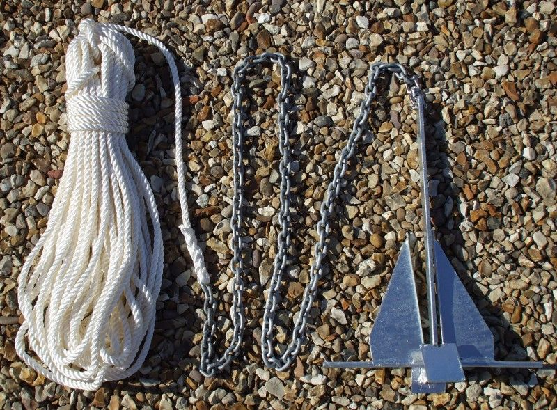 4.5Kg Danforth Anchor Kit With 20m x 10mm Rope & 4m x 8mm Chain