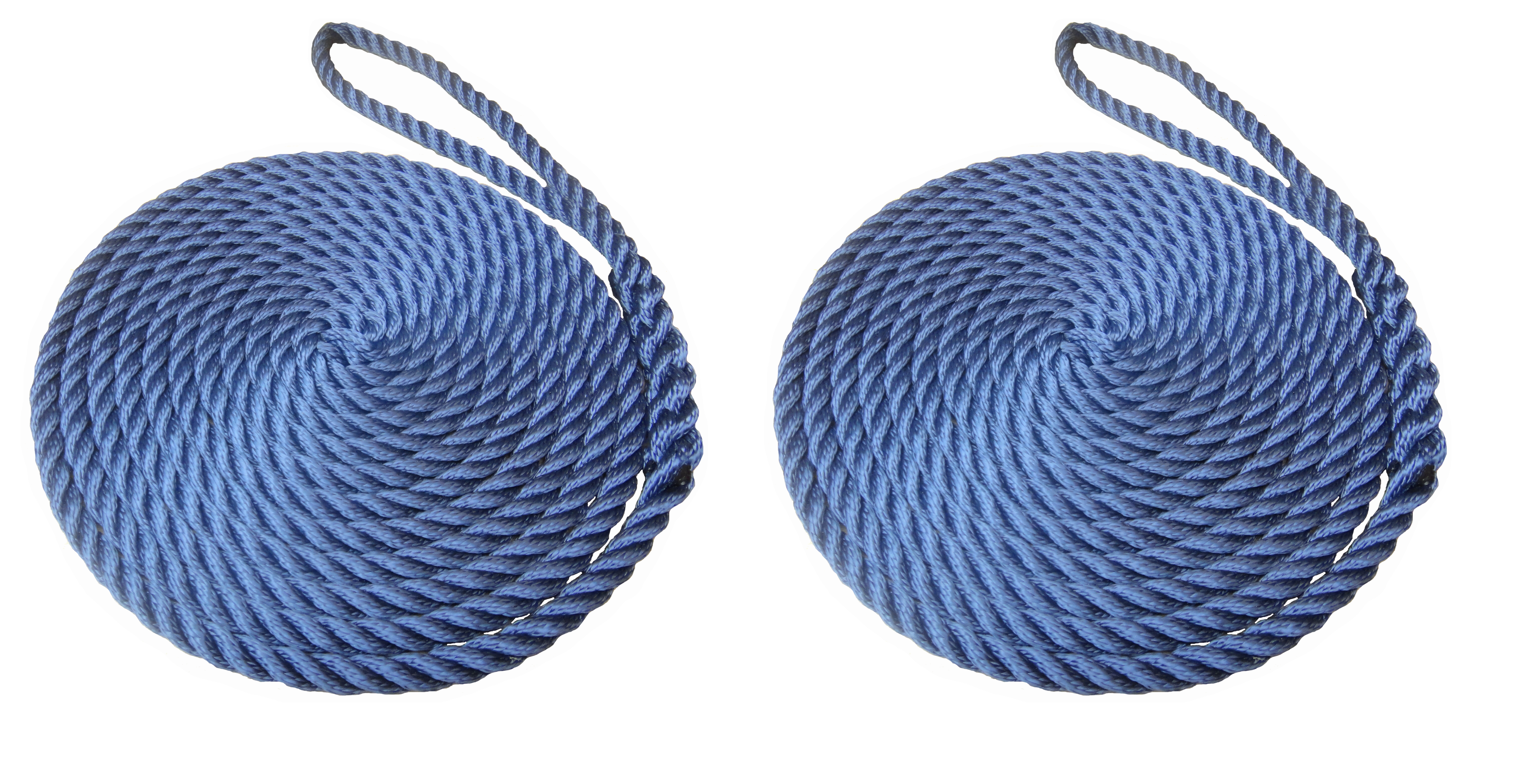 2 x 16mm Navy Blue 3-Strand Boat Mooring Ropes/Warps/Lines Large Soft Eye One End