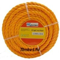 Polypropylene rope - 12mm Dia Orange x 15m Mini Coil