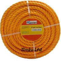 Polypropylene rope - 12mm Dia Orange x 50m Mini Coil