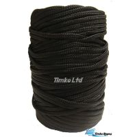5mm Black Braided Nylon Cord Woven x 105m