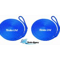 2 x 12mm Royal Blue 3-Strand Boat Mooring Ropes/Warps/Lines Large Soft Eye One End