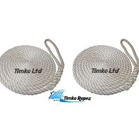2 x 14mm White 3-Strand Boat Mooring Ropes/Warps/Lines Large Soft Eye One End