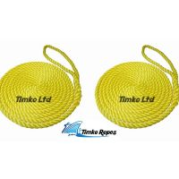 2 x 16mm Yellow 3-Strand Boat Mooring Ropes/Warps/Lines Large Soft Eye One End