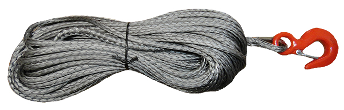10mm x 30m Graphite Synthetic 12-Strand Dyneema ® Winch Rope With Hook & Drum Terminal
