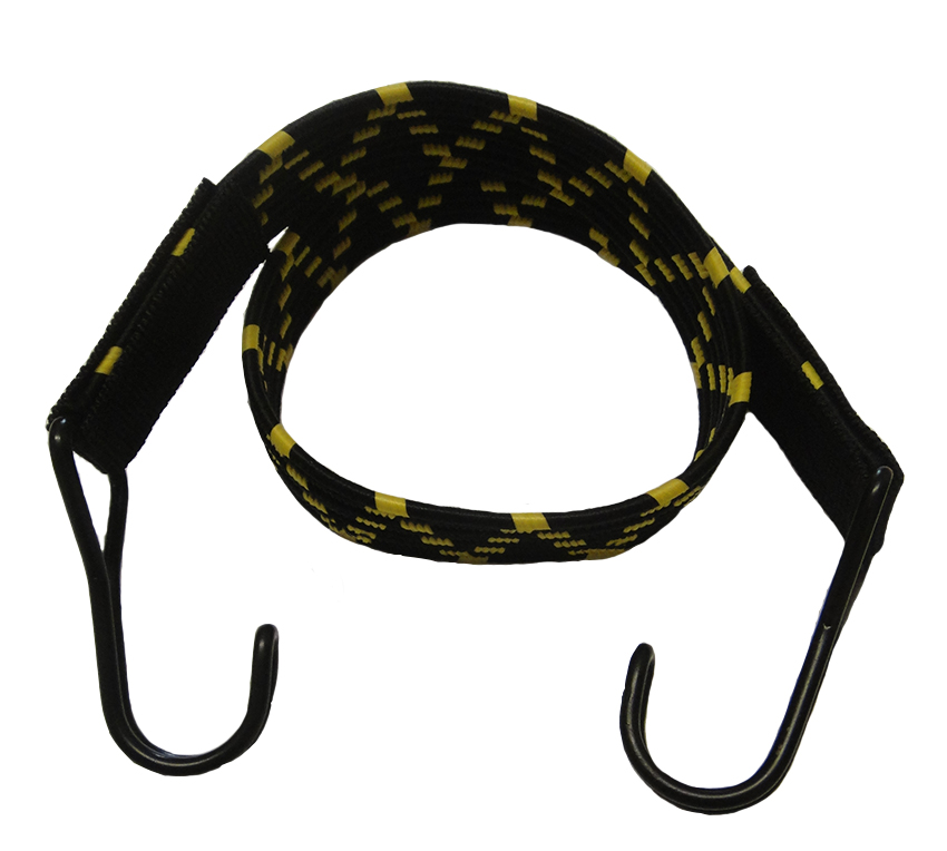 22mm Black/Yellow Flat Elastic Bungee Cord Straps x 60cm With Metal Hooks